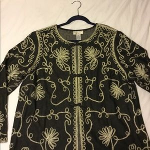 Plus-size Victor Costa Occasion embroidered jacket